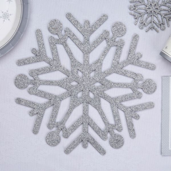 Shimmering Snowflake Silver Glitter Place Mats (4)